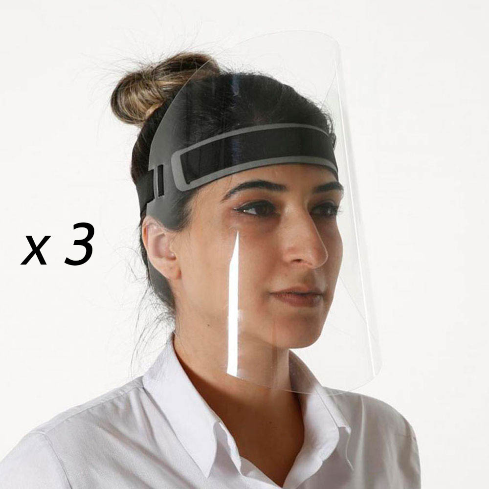 Lot de 3 visières de protection visage réglable anti-projections Covid19 Coronavirus