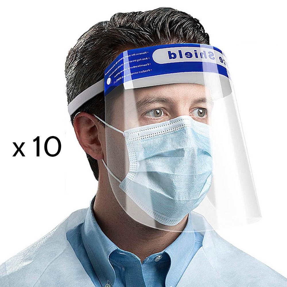 Lot de 10 visières de protection, écran facial transparent pour adultes