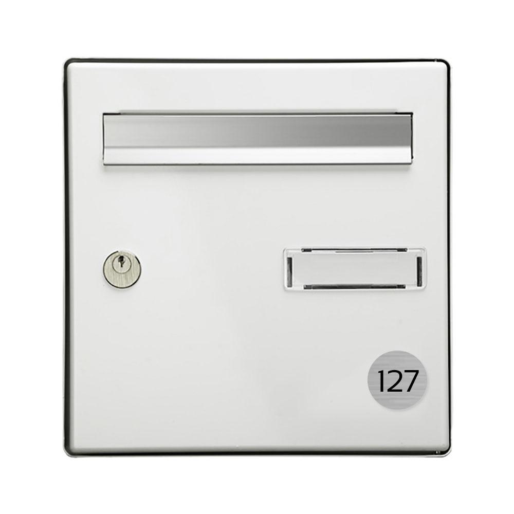 Numéro pour boite aux lettres personnalisable format rond diamètre 40 mm couleur gris argent chiffres noirs