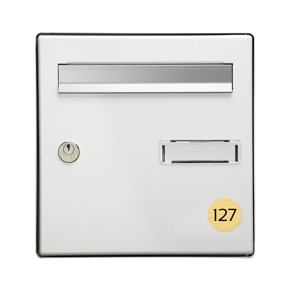 Numéro pour boite aux lettres personnalisable format rond diamètre 40 mm couleur or brossé chiffres noirs