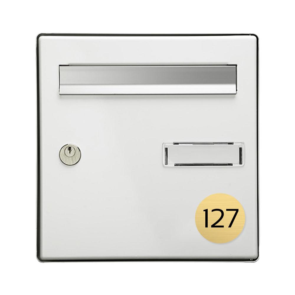 Numéro pour boite aux lettres personnalisable format rond diamètre 60 mm couleur or brossé chiffres noirs