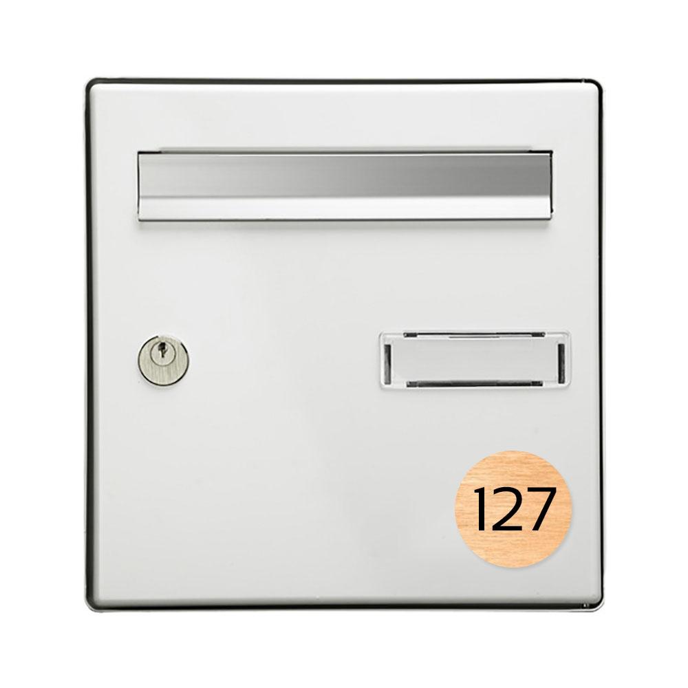 Numéro pour boite aux lettres personnalisable format rond diamètre 60 mm couleur cuivre chiffres noirs