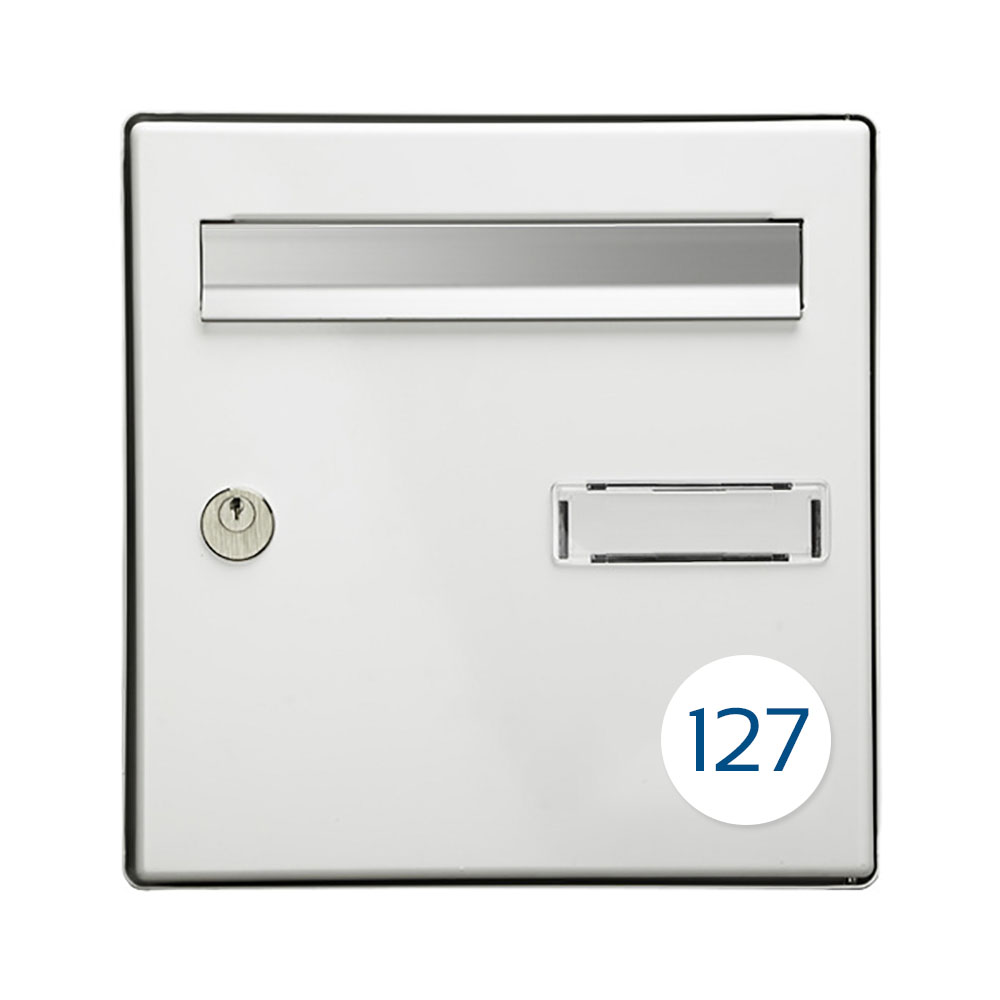 Numéro pour boite aux lettres personnalisable format rond diamètre 60 mm couleur blanc chiffres bleus