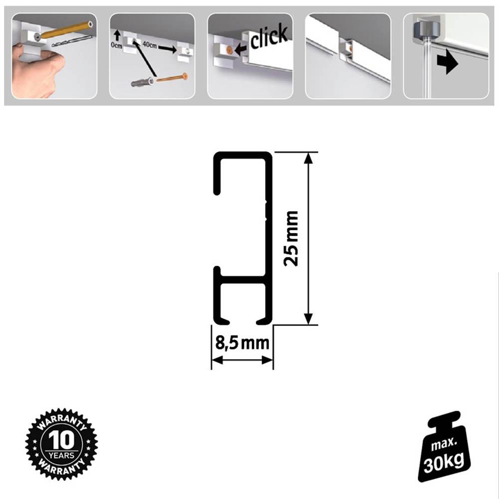 Pack Eco 1 mètre de cimaise Click Rail couleur Blanc (peut être peint) - Solution suspension cadres et tableaux