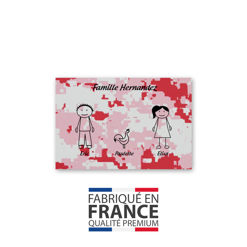 Plaque de maison Family personnalisée avec 3 membres pour boite aux lettres - Format 12x8 cm - Effet camouflage rose