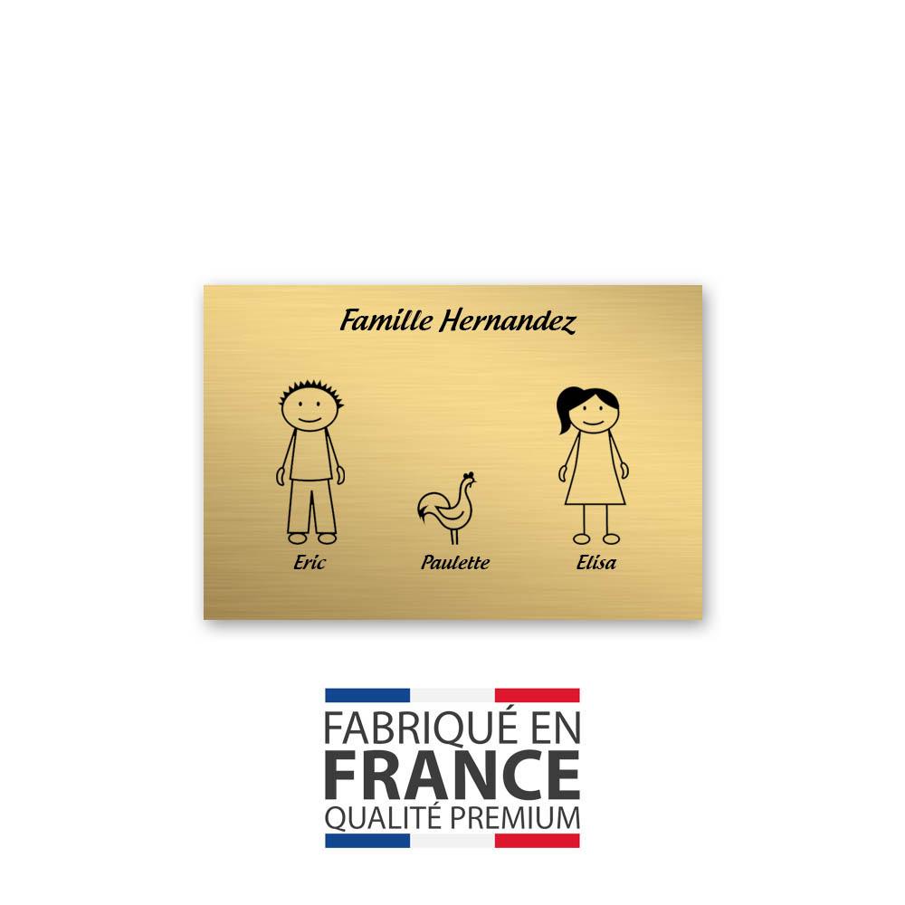 Plaque de maison Family personnalisée avec 3 membres pour boite aux lettres - Format 12x8 cm - Couleur or