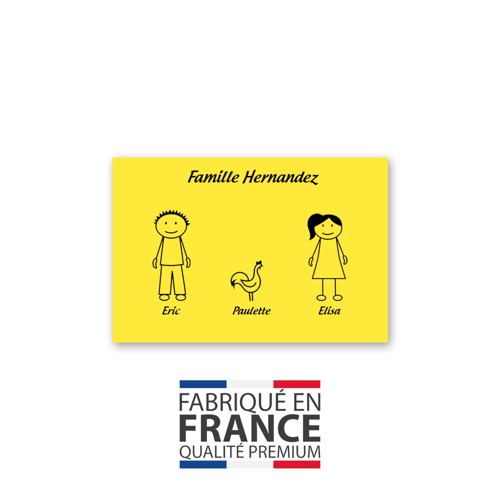 Plaque de maison Family personnalisée avec 3 membres pour boite aux lettres - Format 12x8 cm - Couleur jaune / noire