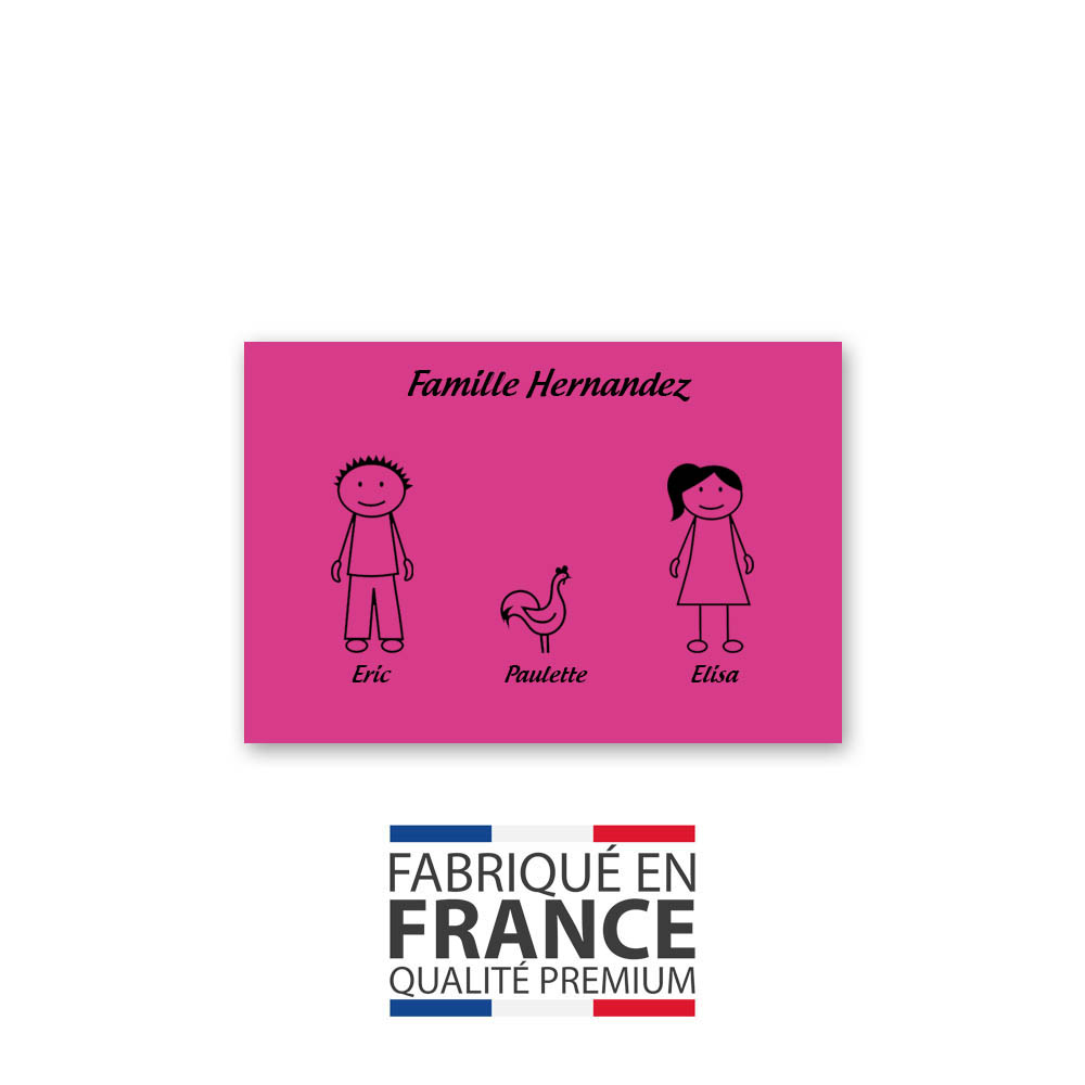 Plaque de maison Family personnalisée avec 3 membres pour boite aux lettres - Format 12x8 cm - Couleur rose / noir