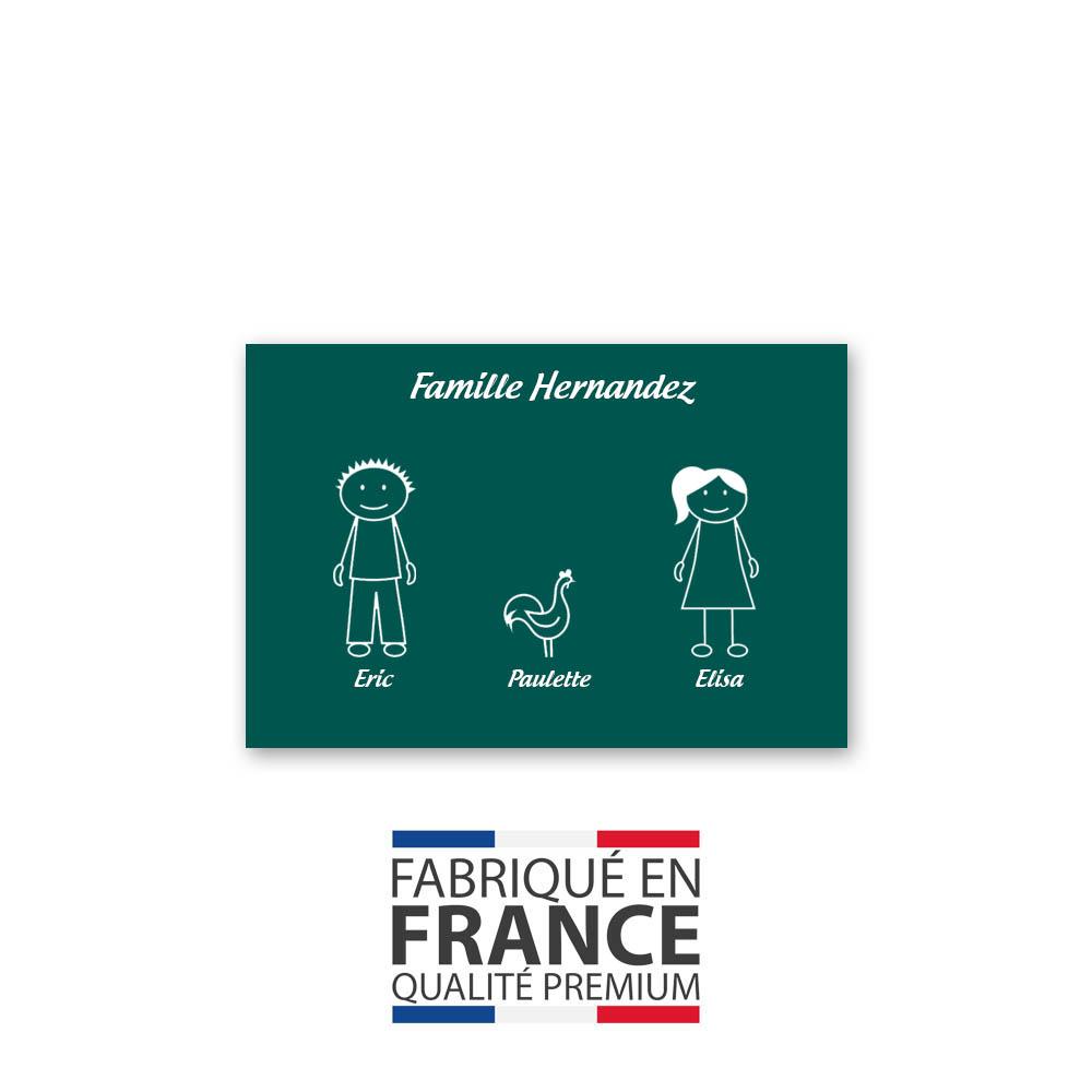 Plaque de maison Family personnalisée avec 3 membres pour boite aux lettres - Format 12x8 cm - Couleur vert foncé