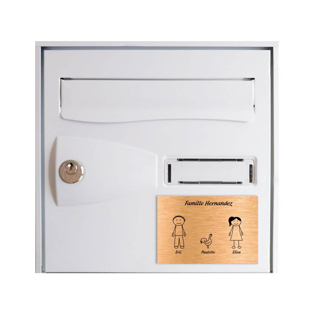 Plaque de maison Family personnalisée avec 3 membres pour boite aux lettres - Format 12x8 cm - Couleur cuivre