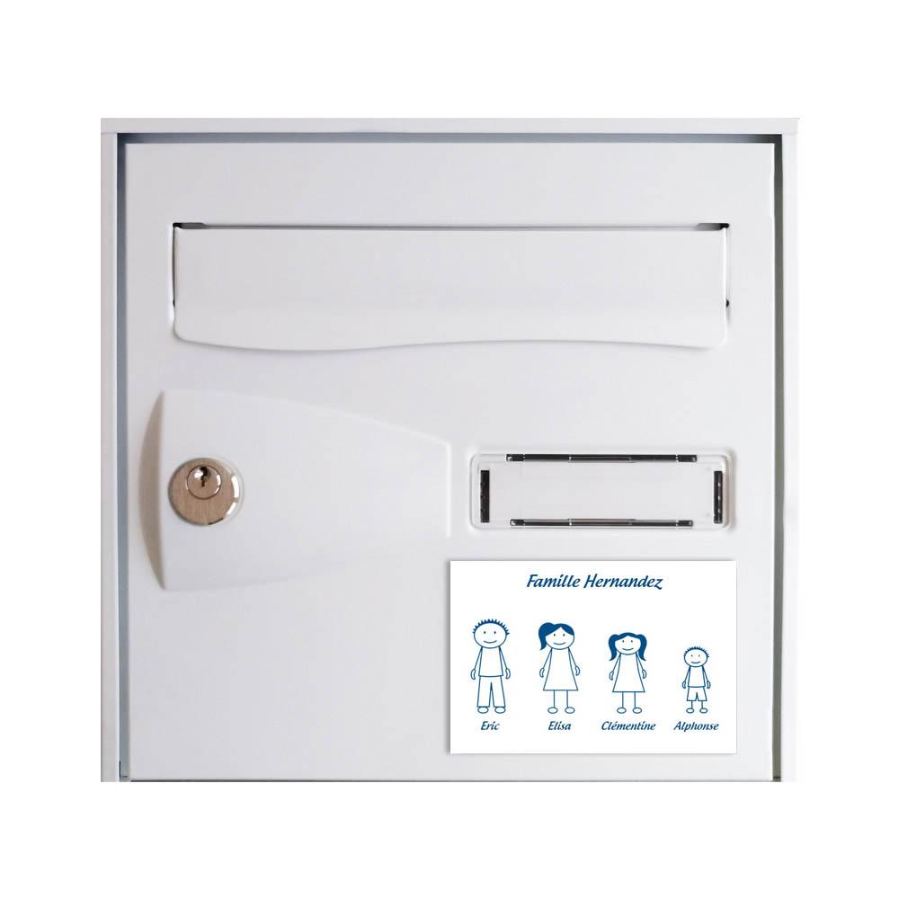 Plaque de maison Family personnalisée avec 4 membres pour boite aux lettres - Format 12x8 cm - Couleur blanche / bleue