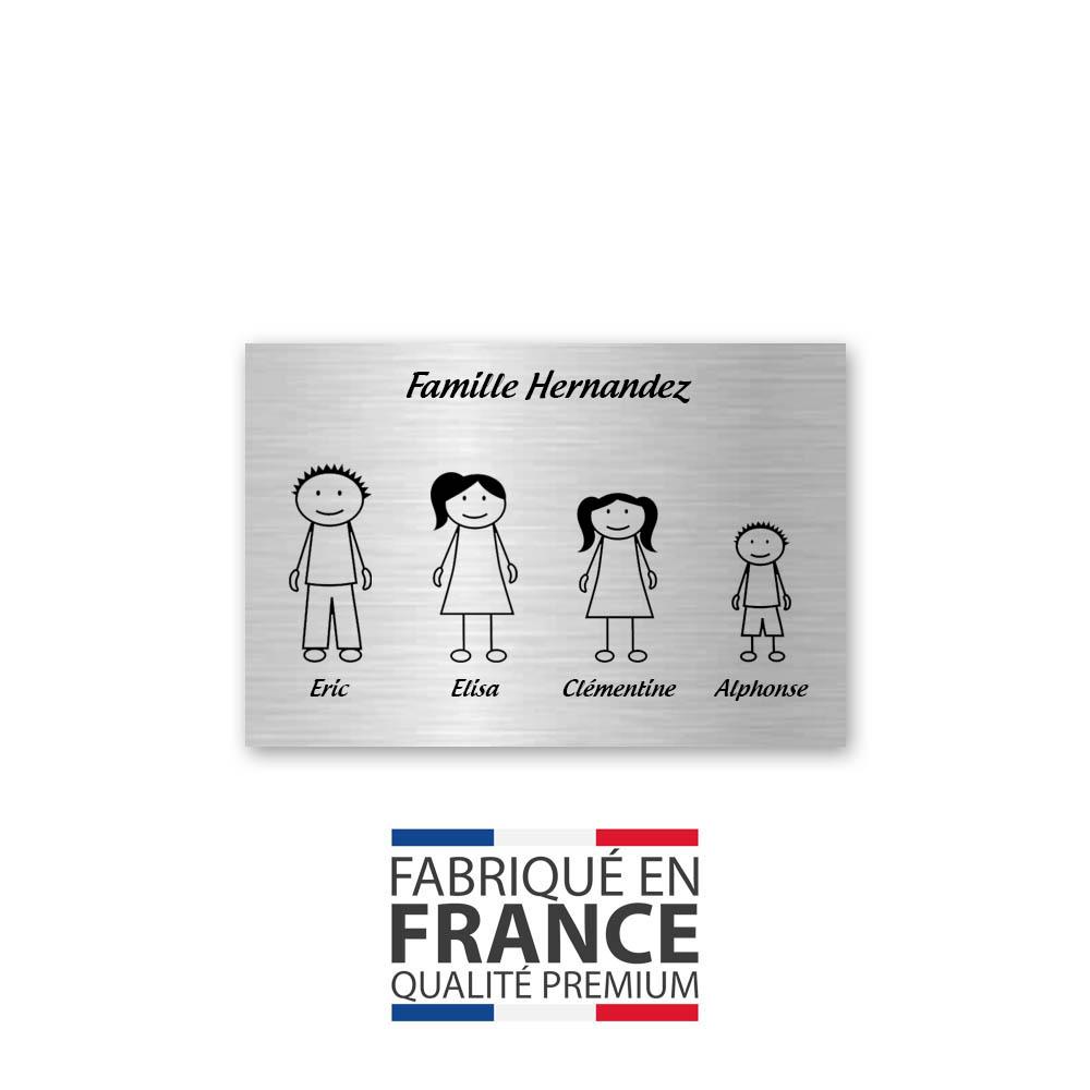 Plaque de maison Family personnalisée avec 4 membres pour boite aux lettres - Format 12x8 cm - Couleur argent