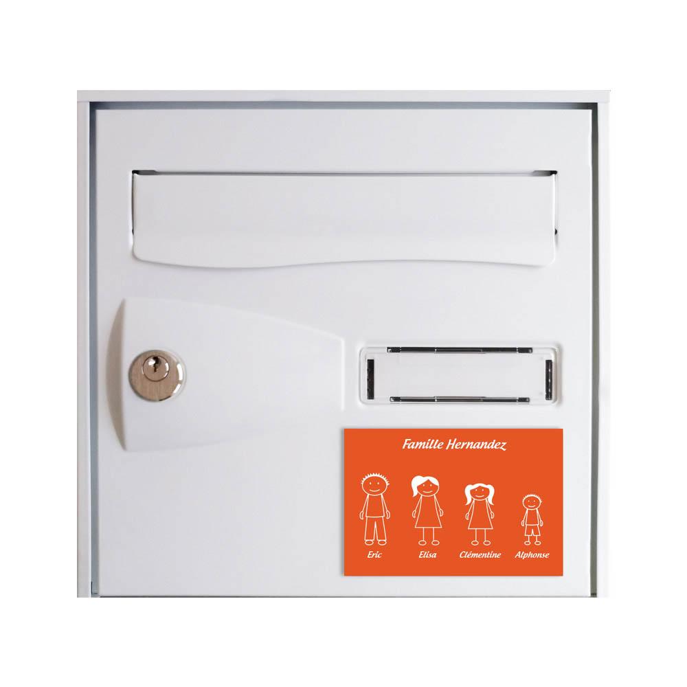 Plaque de maison Family personnalisée avec 4 membres pour boite aux lettres - Format 12x8 cm - Couleur orange