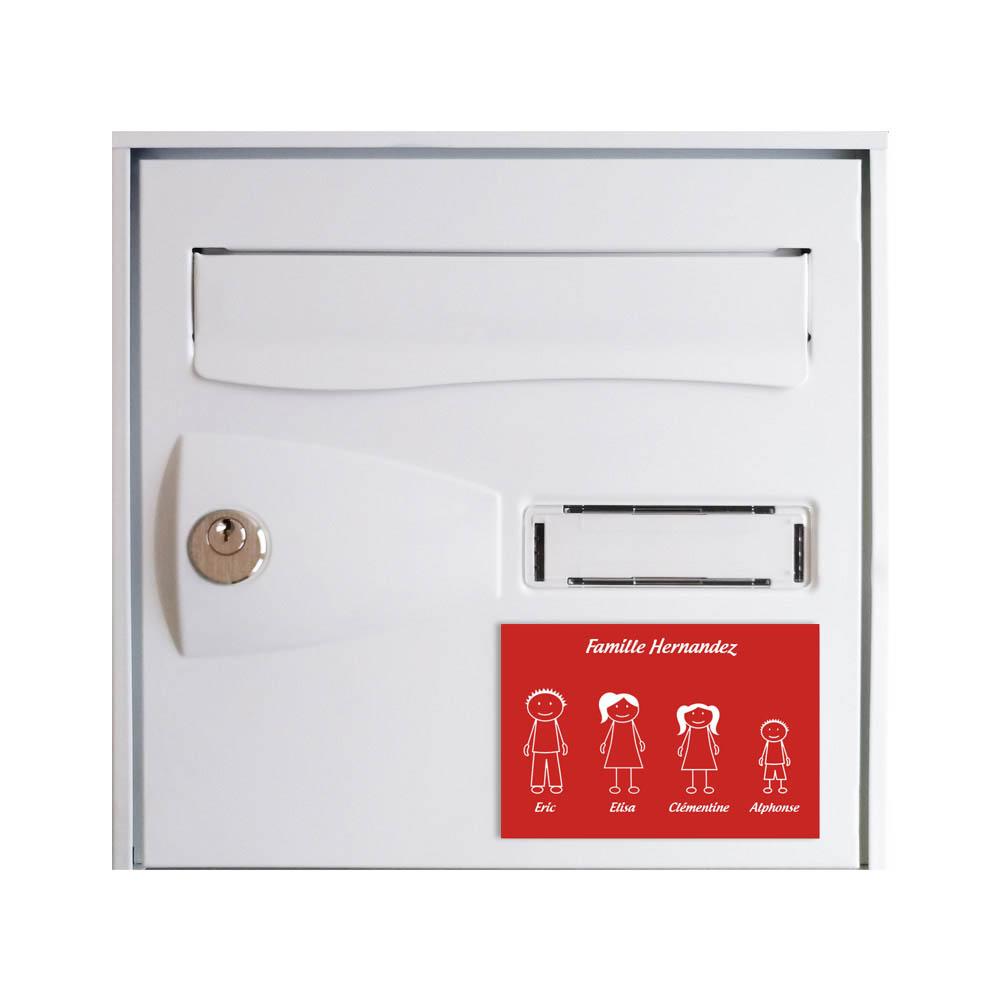 Plaque de maison Family personnalisée avec 4 membres pour boite aux lettres - Format 12x8 cm - Couleur rouge / blanc