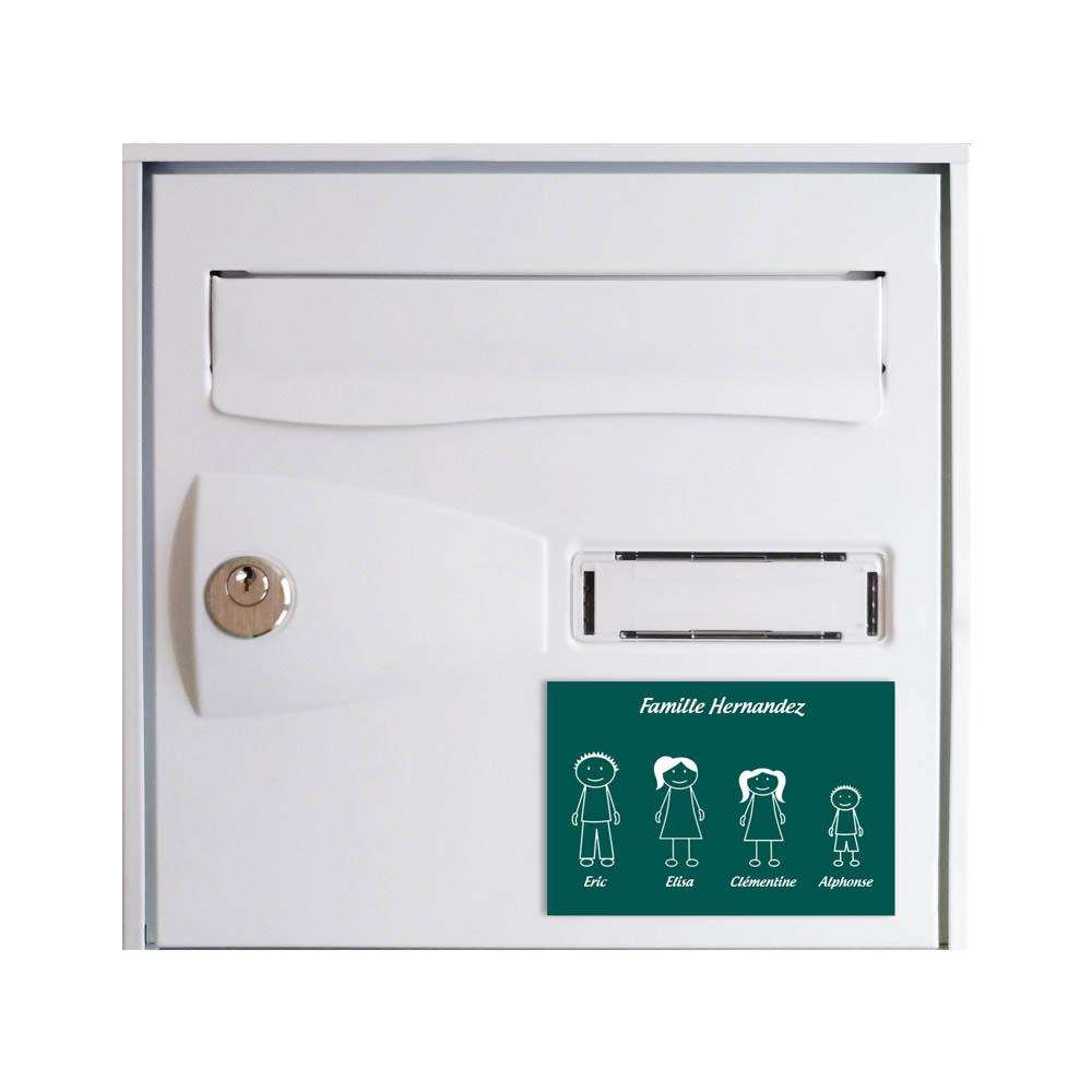 Plaque de maison Family personnalisée avec 4 membres pour boite aux lettres - Format 12x8 cm - Couleur vert foncé