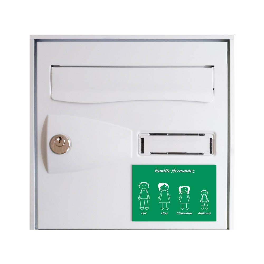 Plaque de maison Family personnalisée avec 4 membres pour boite aux lettres - Format 12x8 cm - Couleur vert clair