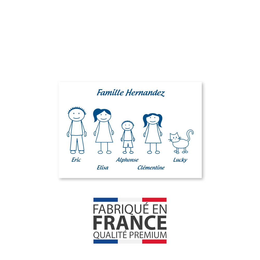 Plaque de maison Family personnalisée avec 5 membres pour boite aux lettres - Format 12x8 cm - Couleur blanche / bleue