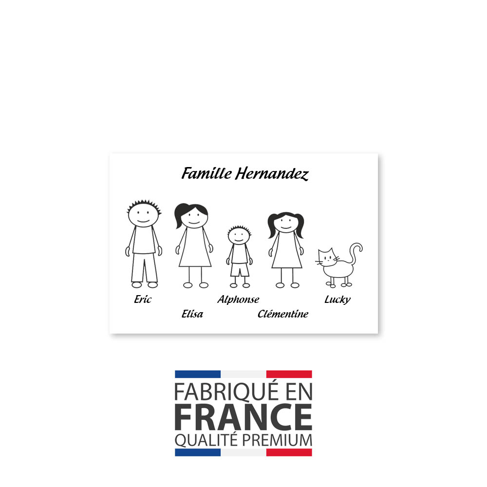 Plaque de maison Family personnalisée avec 5 membres pour boite aux lettres - Format 12x8 cm - Couleur blanche / noire