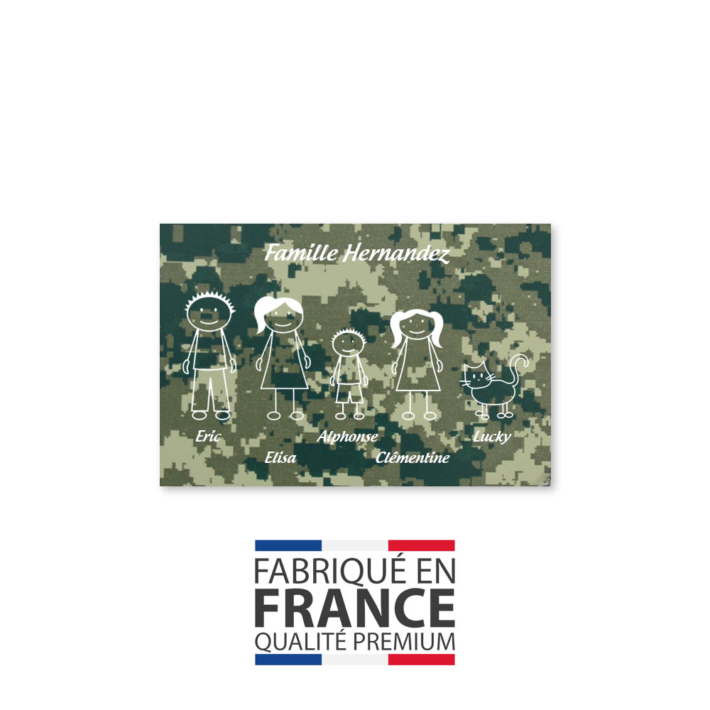 Plaque de maison Family personnalisée avec 5 membres pour boite aux lettres - Format 12x8 cm - Effet camouflage vert