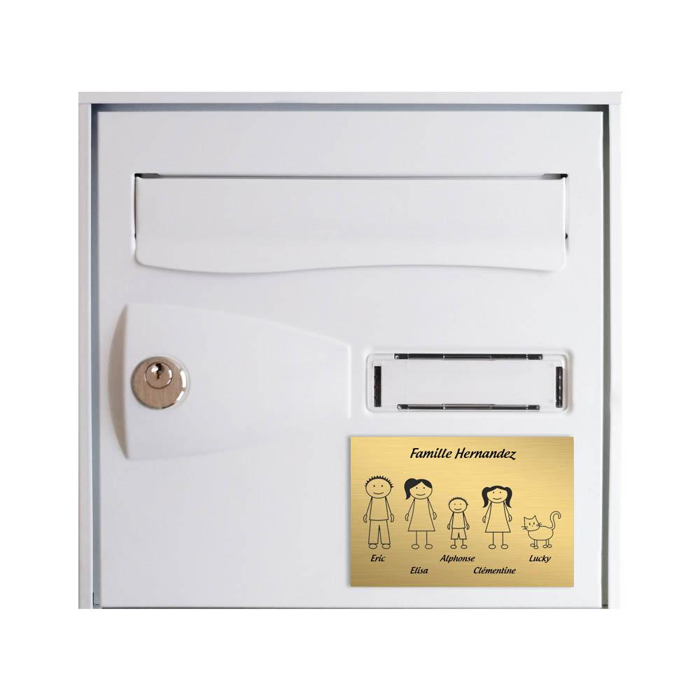 Plaque de maison Family personnalisée avec 5 membres pour boite aux lettres - Format 12x8 cm - Couleur or