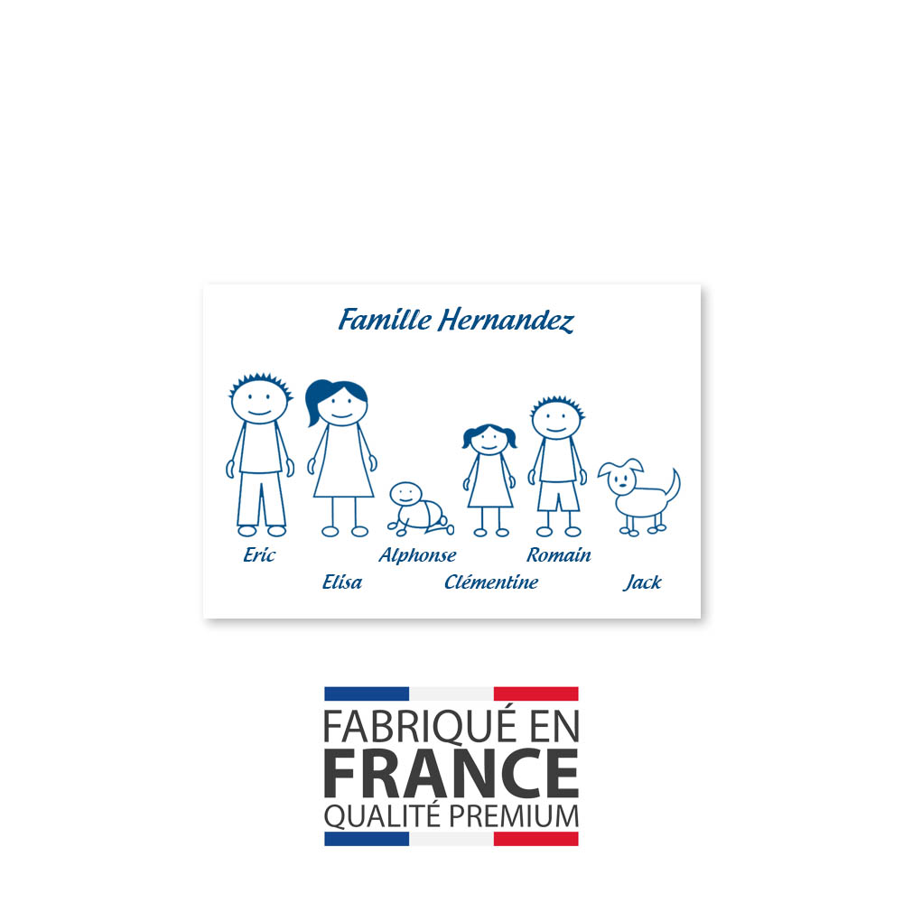 Plaque de maison Family personnalisée avec 6 membres pour boite aux lettres - Format 12x8 cm - Couleur blanche / bleue