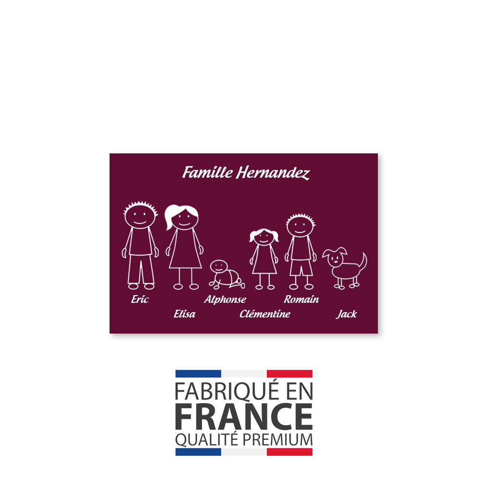 Plaque de maison Family personnalisée avec 6 membres pour boite aux lettres - Format 12x8 cm - Couleur bordeaux