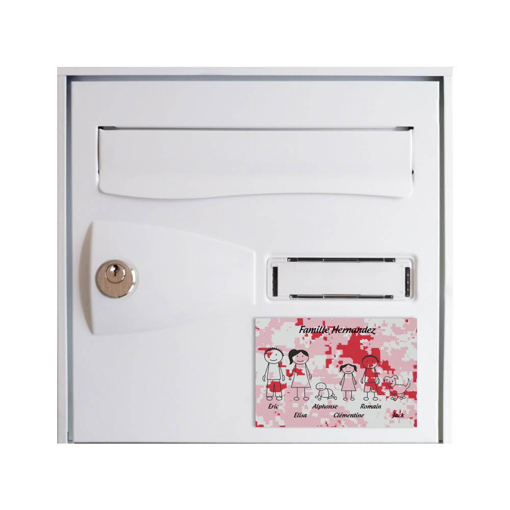 Plaque de maison Family personnalisée avec 6 membres pour boite aux lettres - Format 12x8 cm - Effet camouflage rose