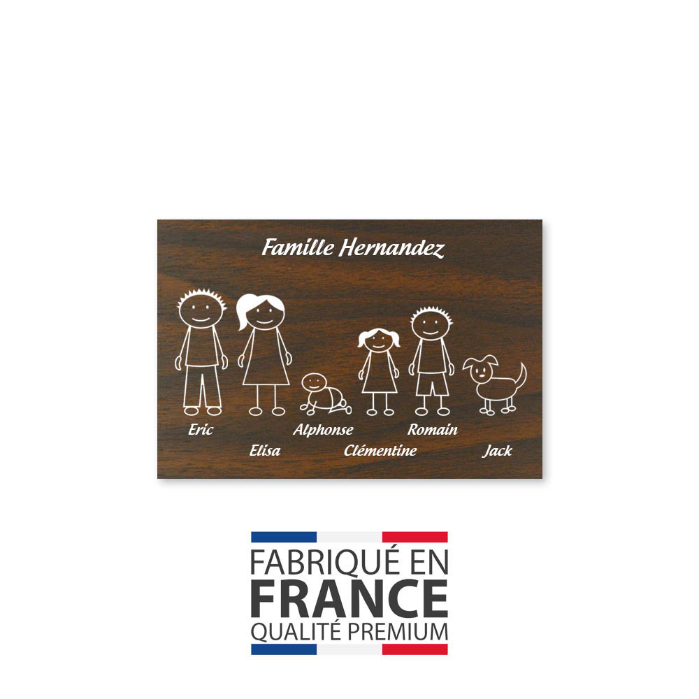 Plaque de maison Family personnalisée avec 6 membres pour boite aux lettres - Format 12x8 cm - Effet bois foncé
