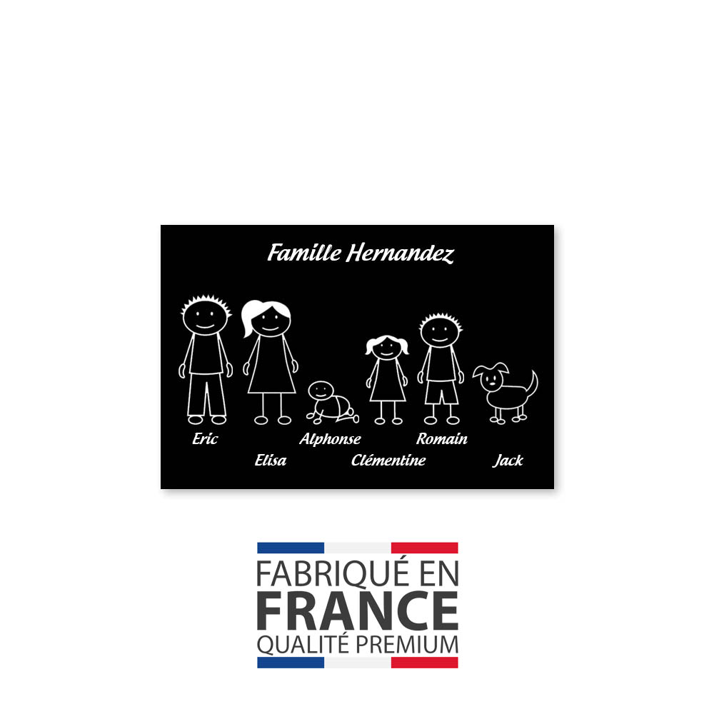 Plaque de maison Family personnalisée avec 6 membres pour boite aux lettres - Format 12x8 cm - Couleur noire