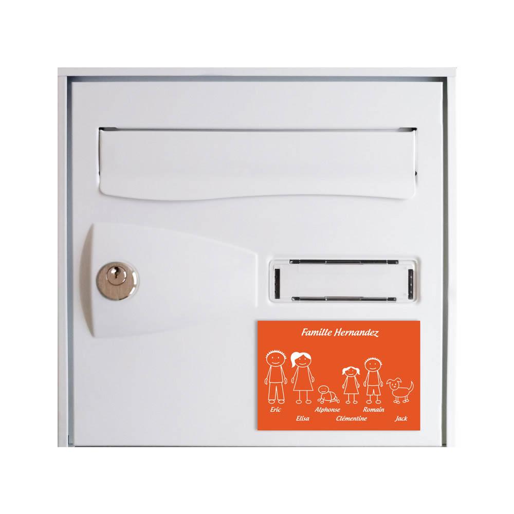 Plaque de maison Family personnalisée avec 6 membres pour boite aux lettres - Format 12x8 cm - Couleur orange