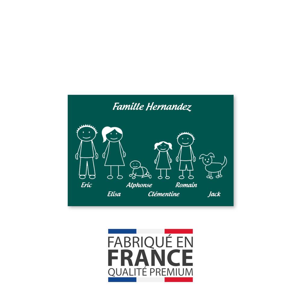 Plaque de maison Family personnalisée avec 6 membres pour boite aux lettres - Format 12x8 cm - Couleur vert foncé