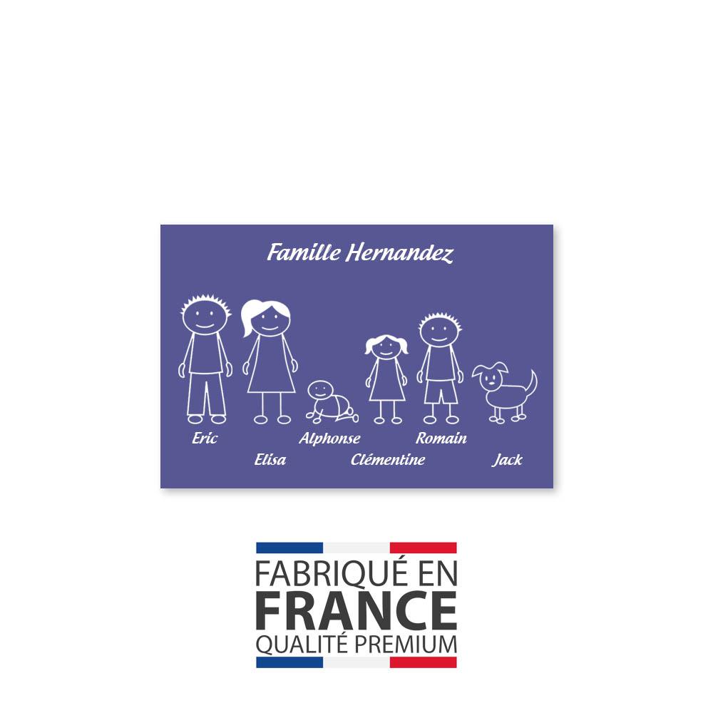 Plaque de maison Family personnalisée avec 6 membres pour boite aux lettres - Format 12x8 cm - Couleur violette