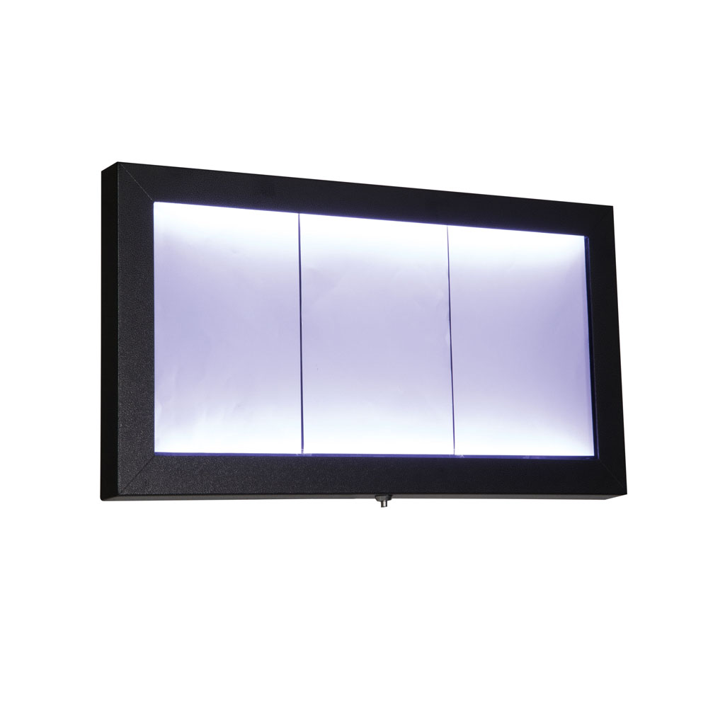 Porte menu mural LED gris métallisé format 3 x A4 - Affichage menu hôtel restaurant