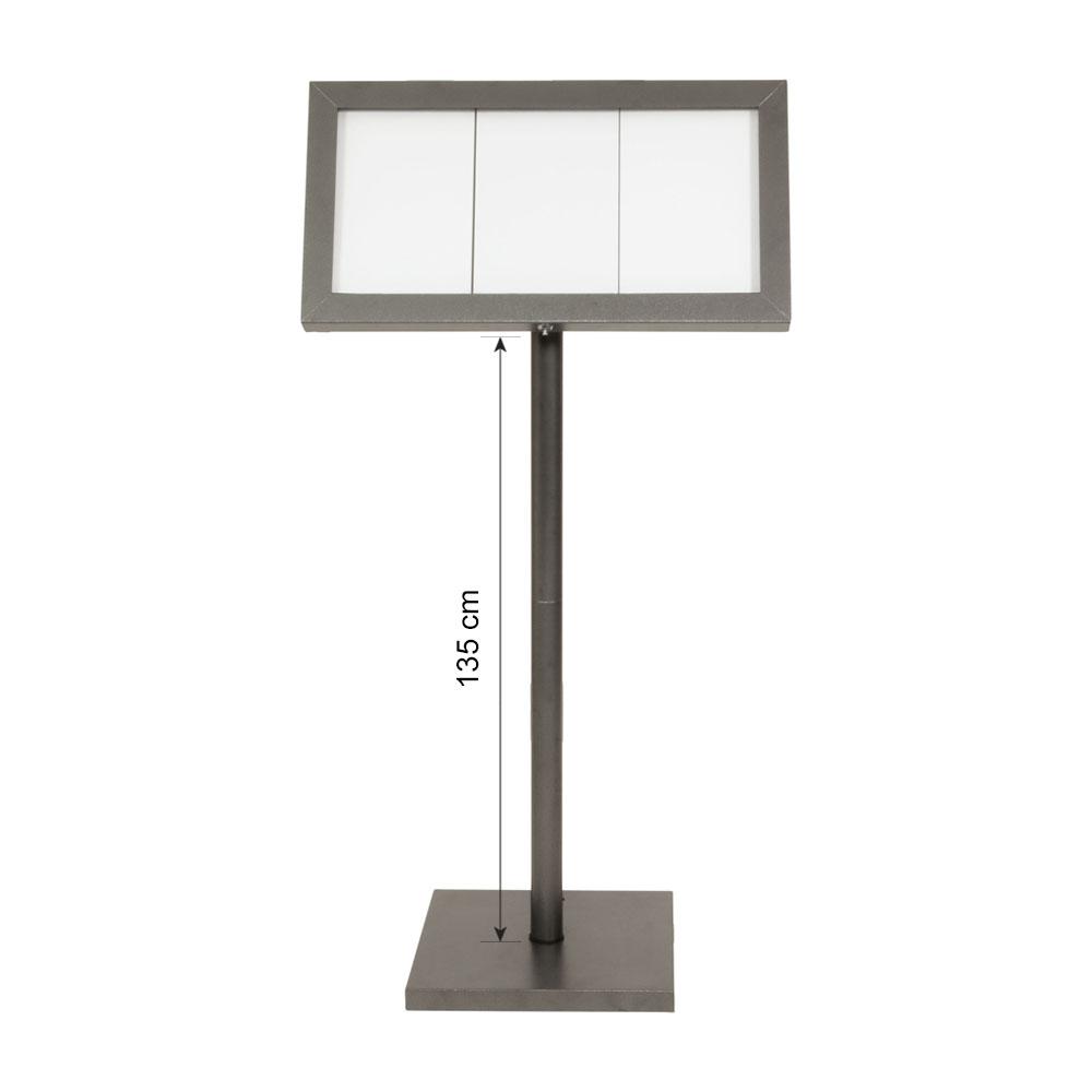 Porte menu LED gris métallisé format 3 x A4 avec pied hauteur 135 cm - Affichage menu hôtel restaurant