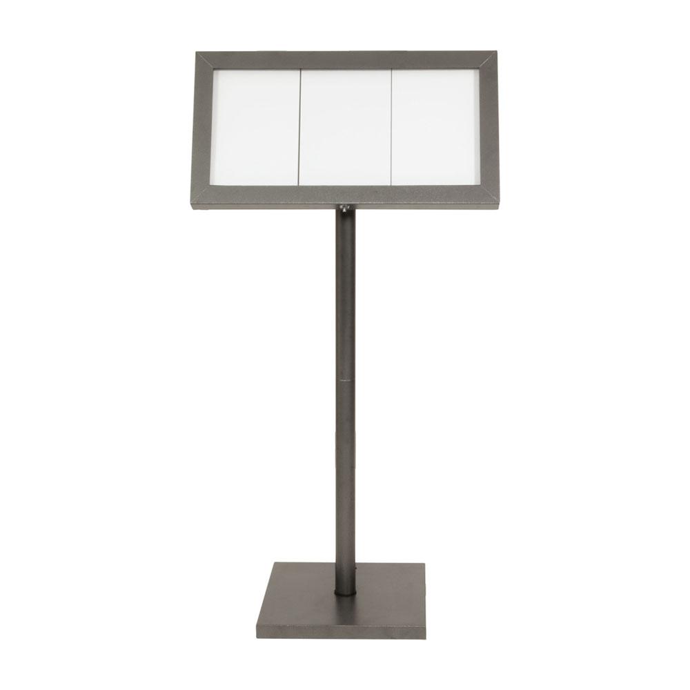 Porte-menu LED gris métallisé format 3 x A4 avec pied hauteur 135 cm - Présentoir menu hôtel restaurant