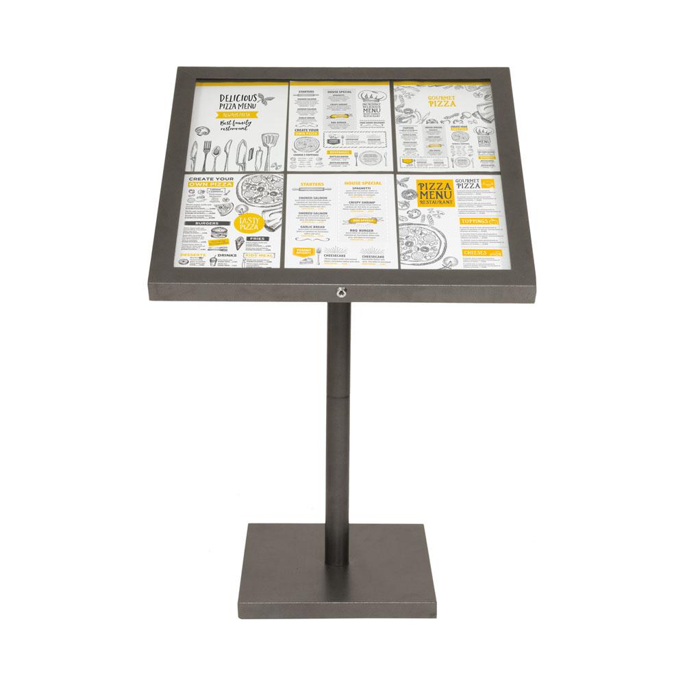 Porte-menu LED gris métallisé format 6 x A4 avec pied hauteur 95 cm - Présentoir menu hôtel restaurant