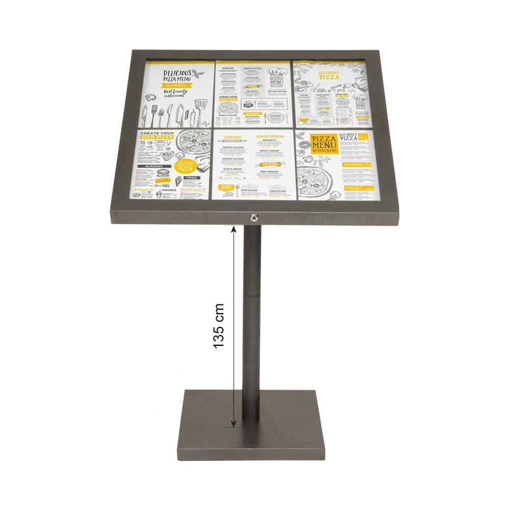 Porte menu LED gris métallisé format 6 x A4 avec pied hauteur 135 cm - Affichage menu hôtel restaurant