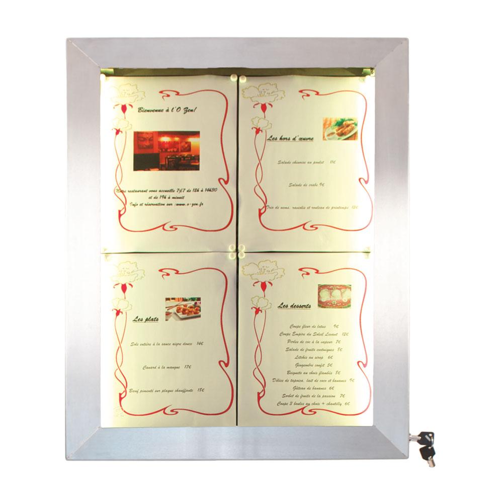 Porte menu mural LED format 4 x A4 en Inox brossé