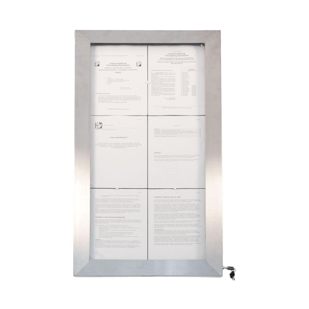 Porte menu mural LED format 6 x A4 en Inox brossé