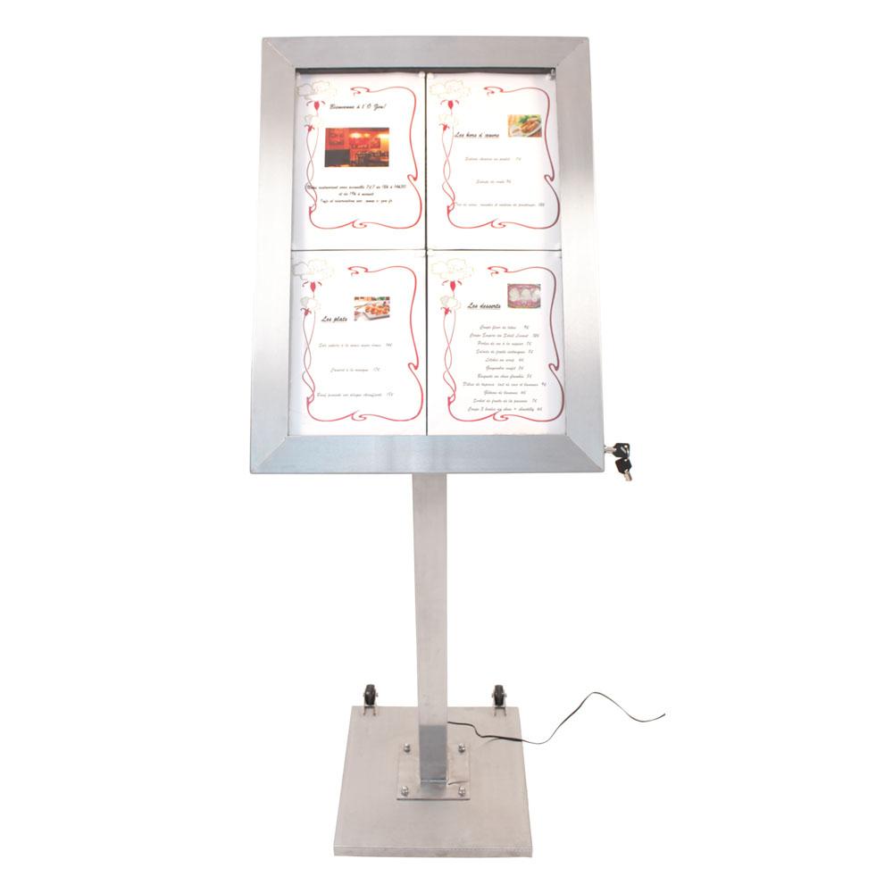 Porte-menu LED format 4 x A4 en Inox brossé avec pied (roulettes intégrées)