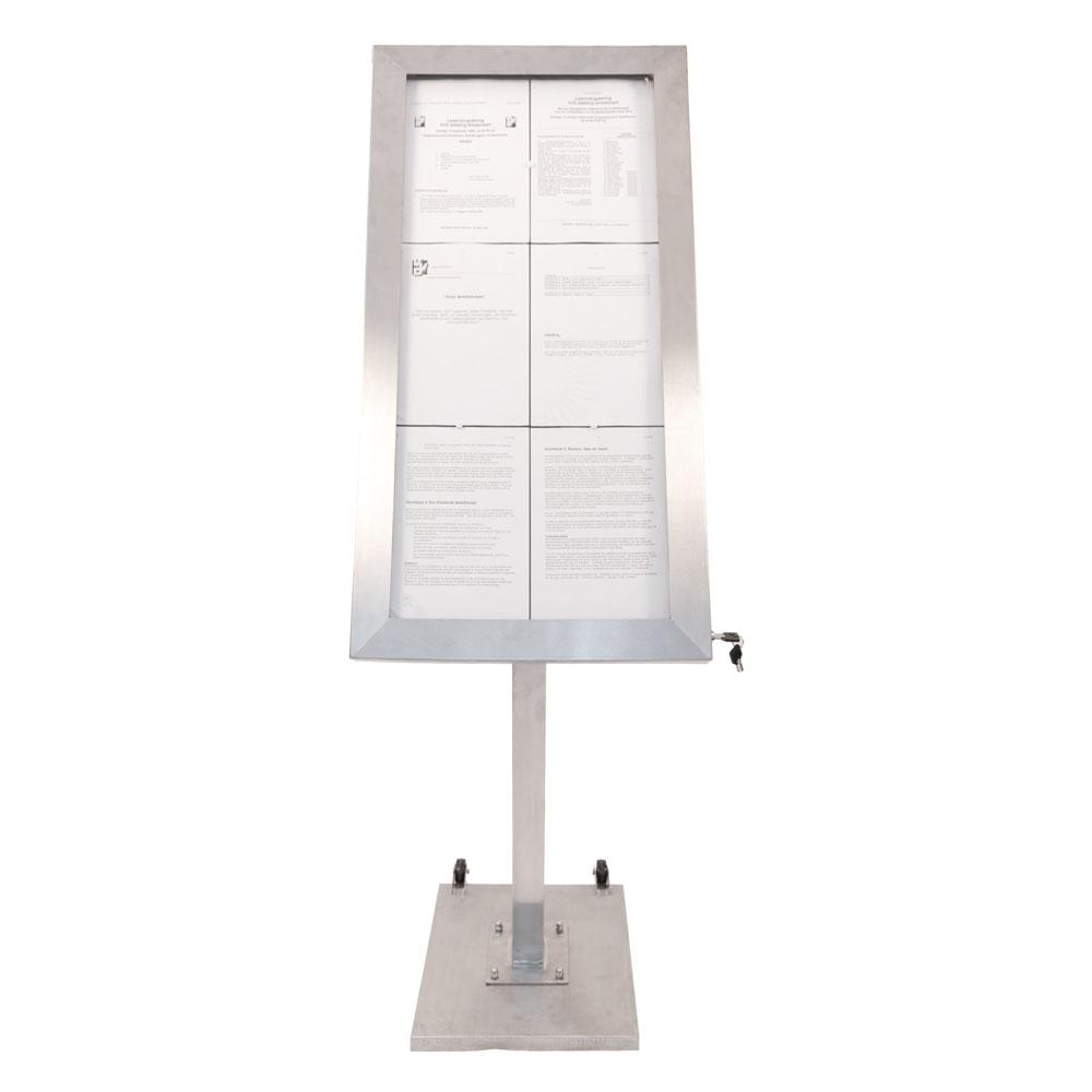 Porte-menu LED format 6 x A4 en Inox brossé avec pied (roulettes intégrées)