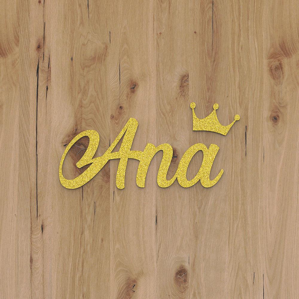 Plaque de porte prénom à personnaliser couleur or à paillettes - Décoration porte de chambre, anniversaire, naissance