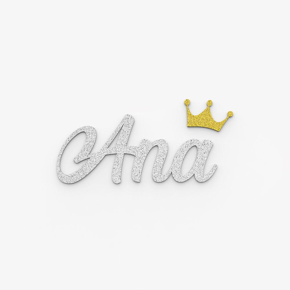 Plaque de porte prénom à personnaliser couleur argent à paillettes - Décoration porte de chambre, anniversaire, naissance
