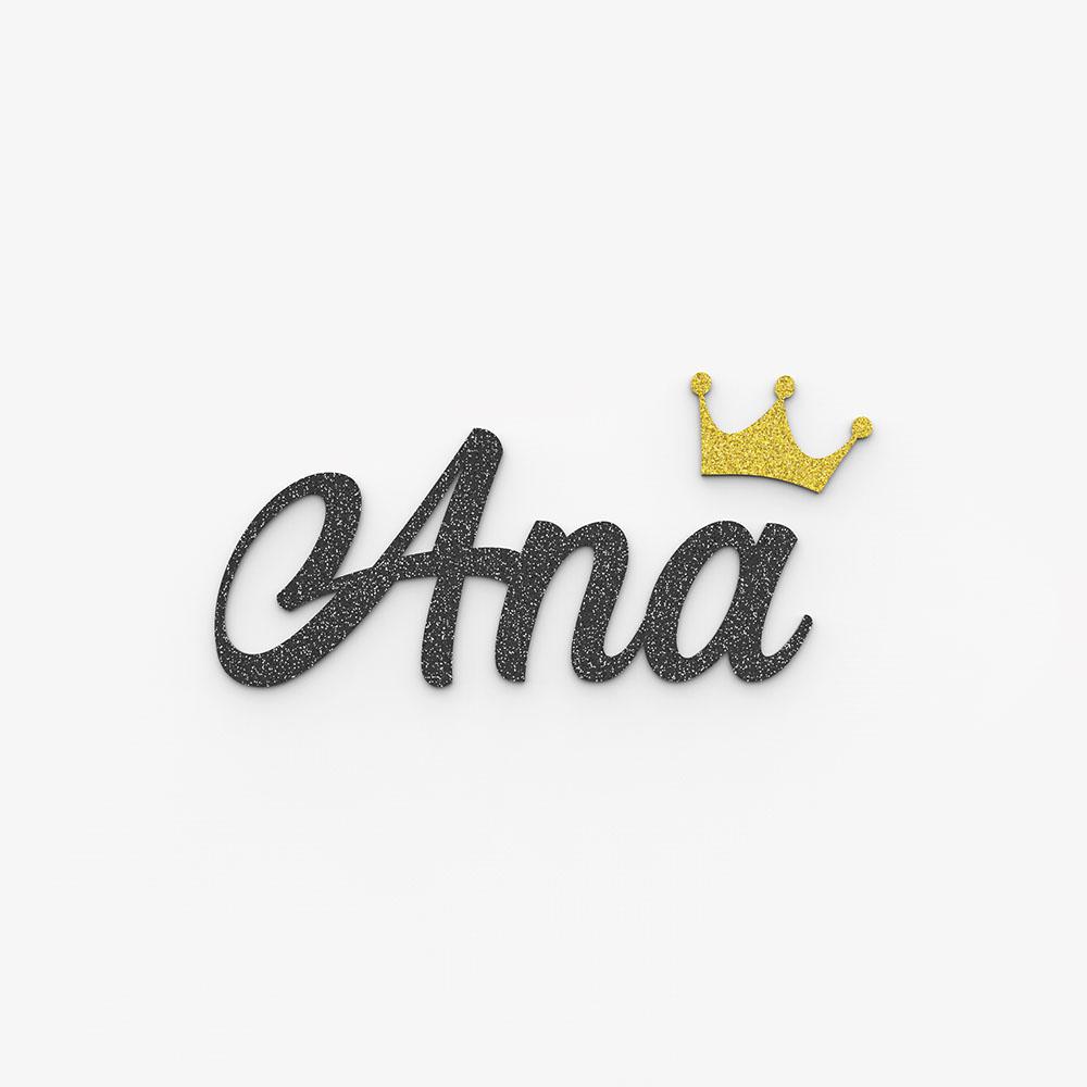 Plaque de porte prénom à personnaliser couleur noire à paillettes - Décoration porte de chambre, anniversaire, naissance