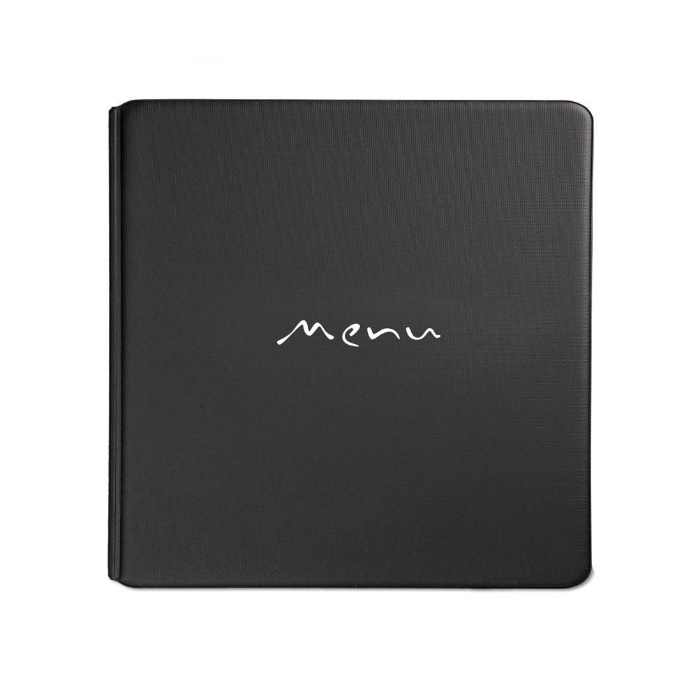 Protège menu Toscana couleur noir format carré (modèle Quadrato) - Présentation menus hôtel-restaurant