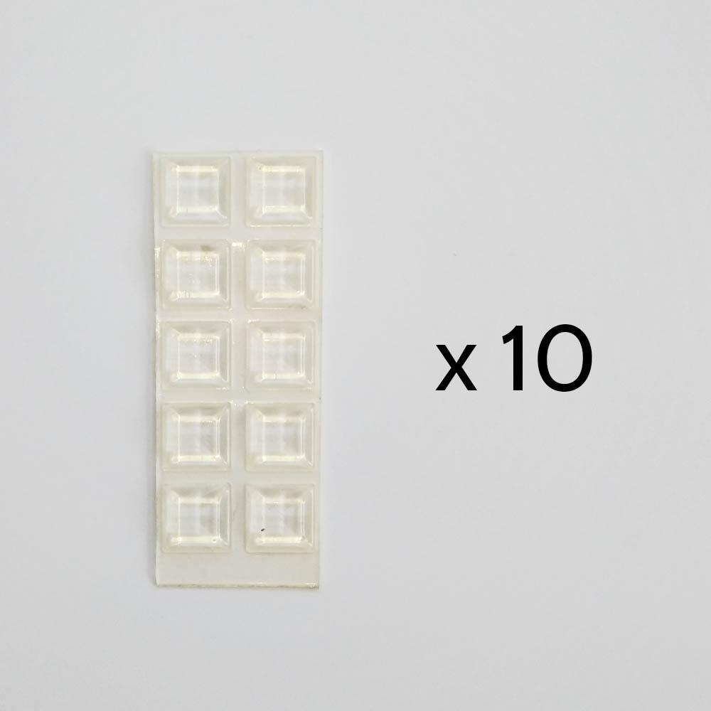 Lot de 10 blocs / butées caoutchouc adhésifs