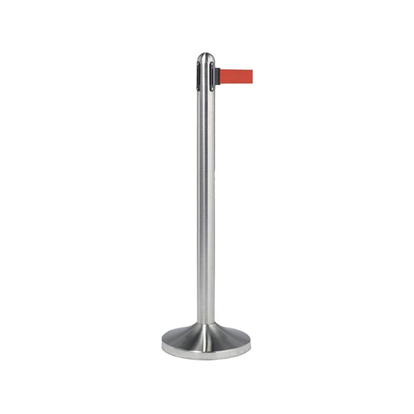 Poteau d'accueil à corde retractable rouge