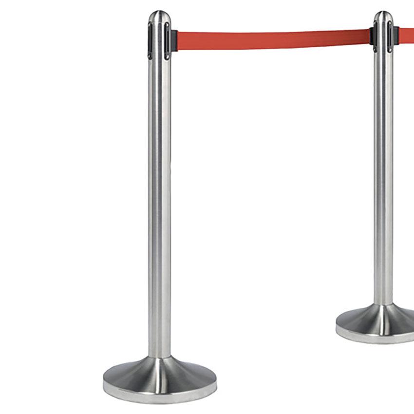 Lot de 2 poteaux d'accueil à corde rétractable rouge