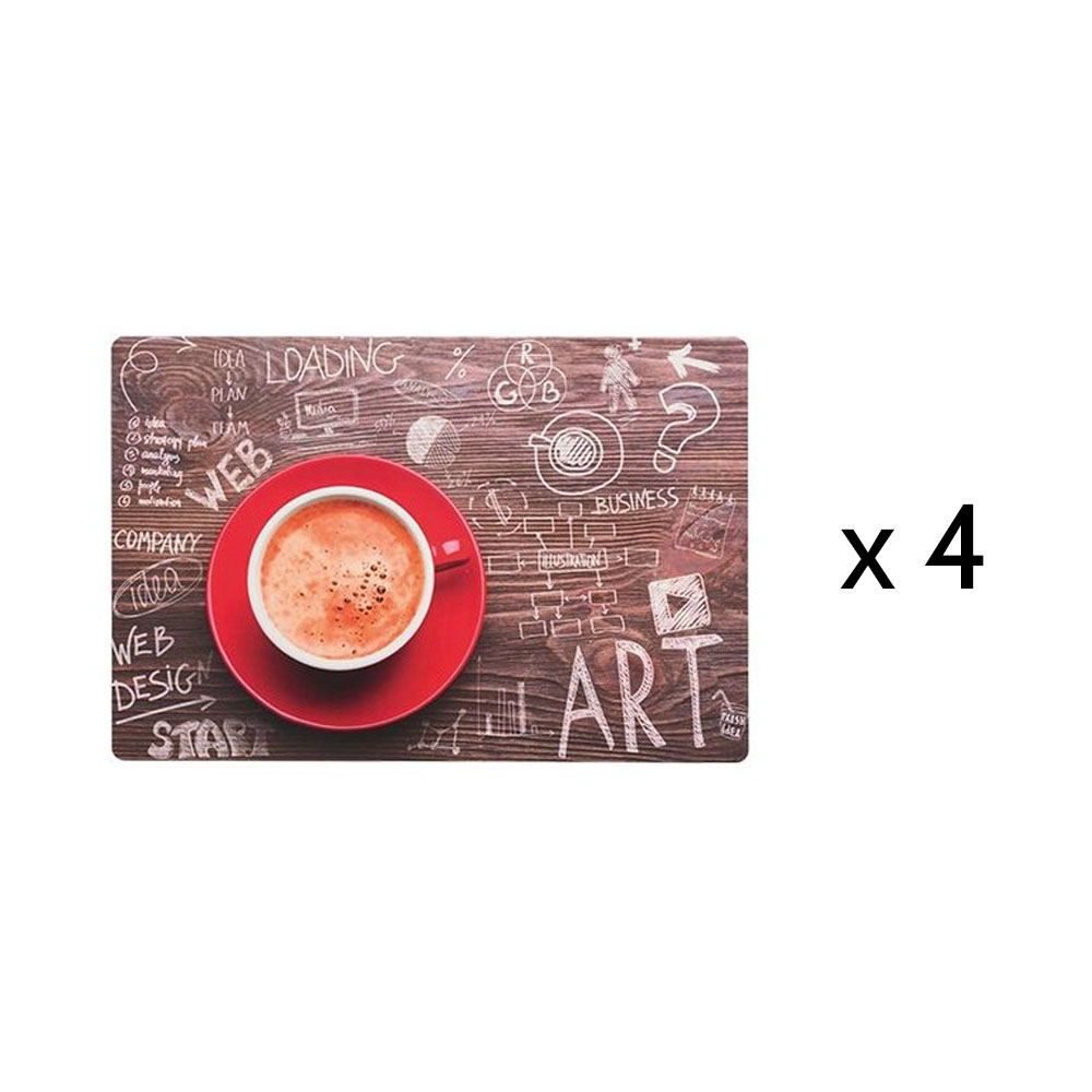 Lot de 4 sets de table petit-déjeuner modèle café coffee time - Set de table design 45 x 30 cm