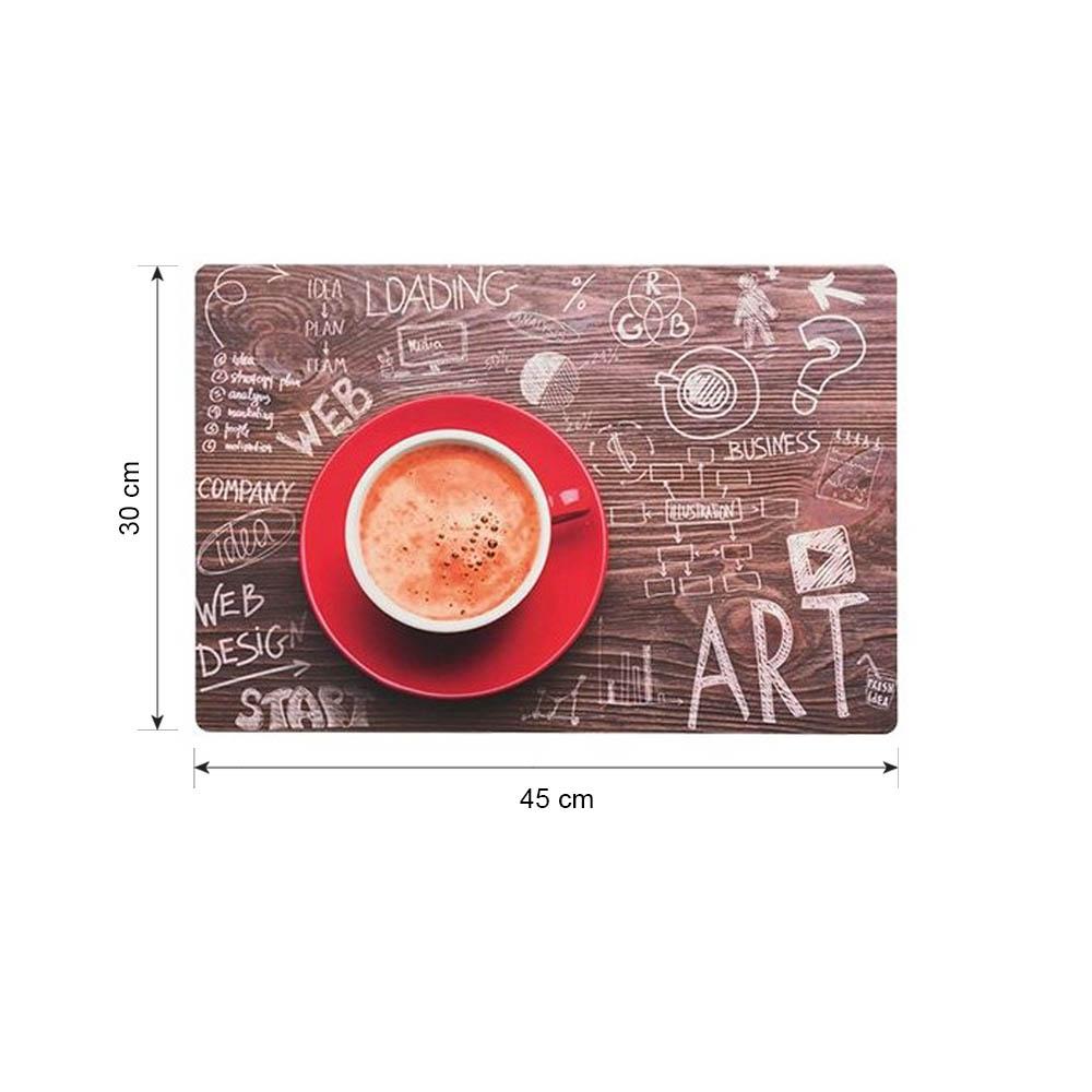 Lot de 4 sets de table cuisine décoration table modèle café coffee time - Set de table design 45 x 30 cm